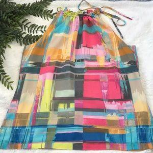 Trina Turk colorful silk blend tie neck blouse